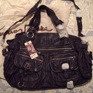 Junior Drake purple leather purse w/dust bag